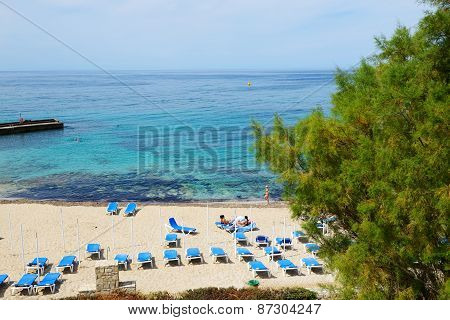 Crete, Greece - May 11: The Tourists Enjoiying Their Vacation On The Beach On May 11, 2014 In Crete,