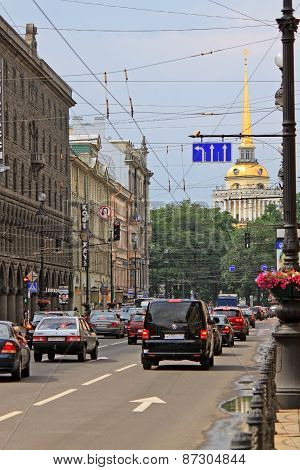 Admiralty Building And Nevsky Prospect In Saint Petersburg. Russia