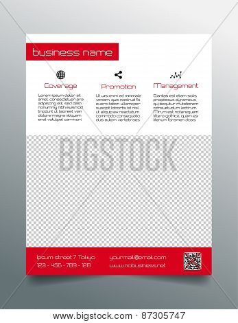 Business flyer design - simple red minimalistic style
