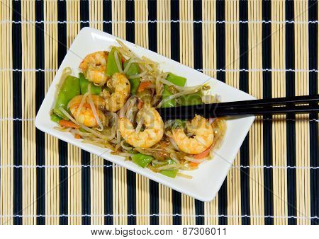 Dish Of Prawns And Cooked Vegetables In A Wok