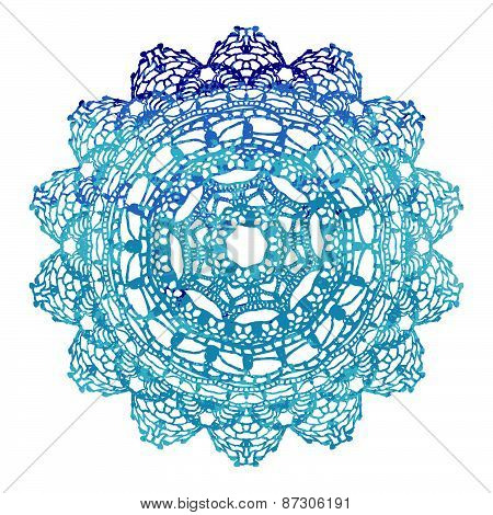 Elegant lacy watercolor doily. Crochet mandala.