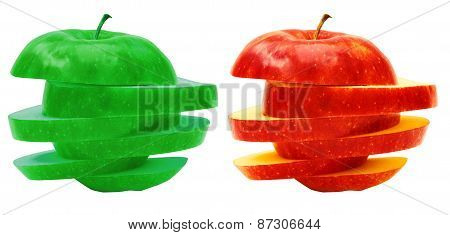 Apples sliced sections. Fruit isolated on white background