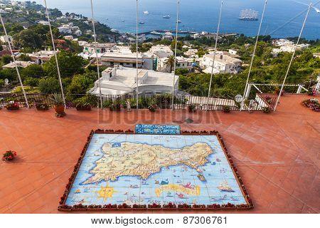 Hand Painted Map Of Capri Island