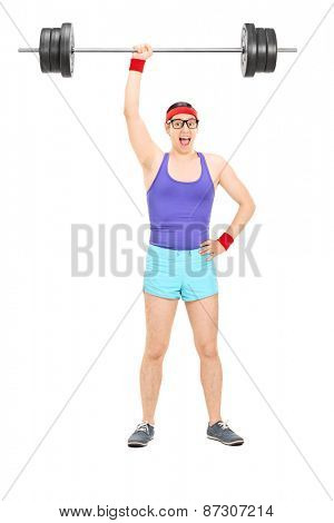 Full length portrait of a strong nerdy athlete holding a heavy weight in one hand isolated on white background