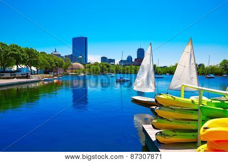 Boston from Charles River in Massachusetts USA