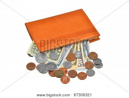 Dollar banknote and coin in wallet
