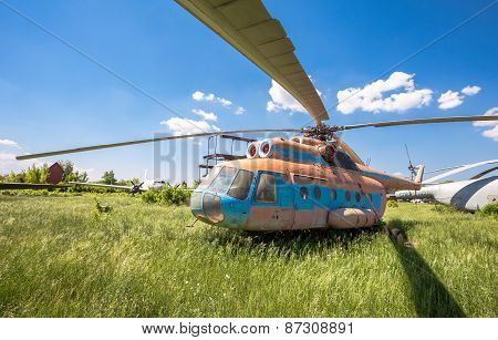 The Russian Transport Helicopter Mi-6 At An Abandoned Aerodrome In Samara, Russia
