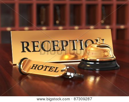 Close-up Of Room Access Key And Bell On Wooden Reception Desk. Soft Focus Illustration