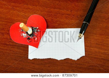 Cigarette With The Heart Shape And Paper