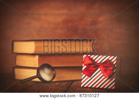 Books With Loupe And Gift Box