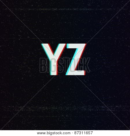 Vector Font with TV Stereo Effect. From Y to Z