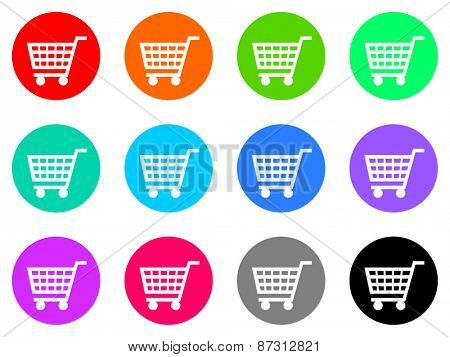 cart colorful vector flat icon set