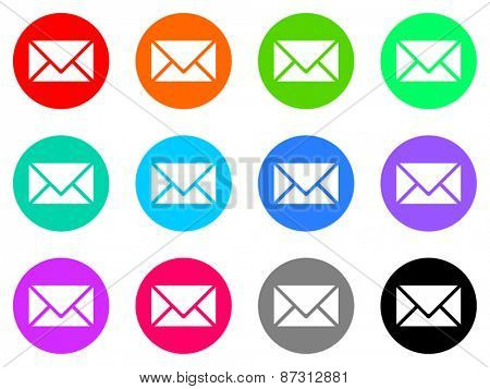 e-mail colorful vector flat icon set