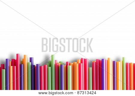 Rainbow Colored Plastic Straws Background Pattern
