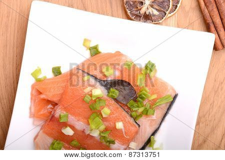 Slice Of Red Fish Salmon With Cinnamon