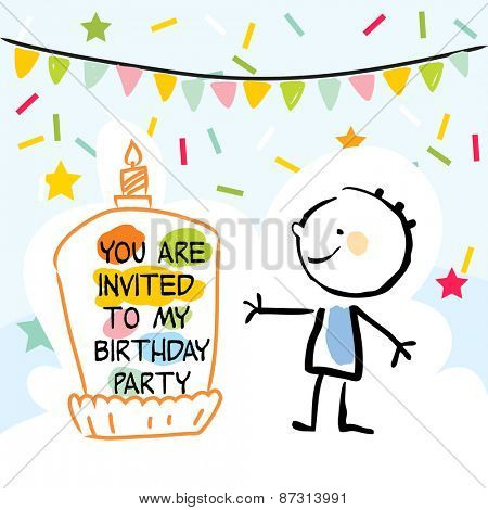 Happy birthday kids greeting card, party invitation. Colorful confetti, with doodle, line art drawing.