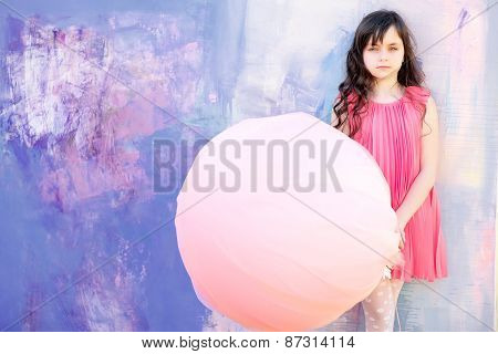 Nice Little Girl On Bright Background, Copyspace