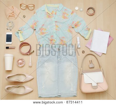 Stylish Casual Set Of Clothes And Accessories And Stuff For Urban Woman In Soft Colors