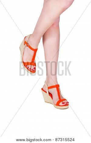 Woman Legs Wearing Of Sandals
