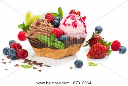 .dessert Of  Ice Cream In A Wafer Bowl