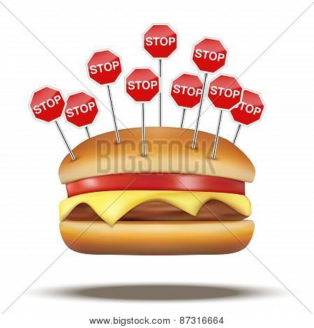 Fast food burger with STOP signs