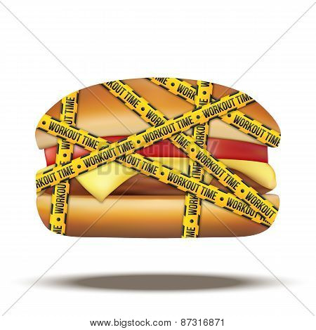 fast food burger with workout time tapes