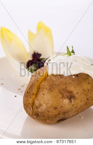 Baked Jacket Potato With Sour Cream Sauce