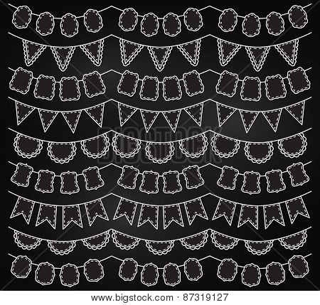 Vector Collection of Chalkboard Bunting