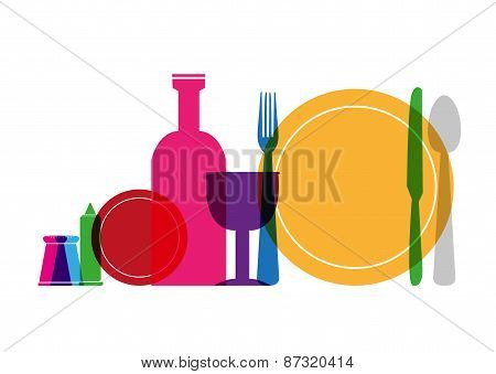 Colorful Utensils like Spoon Fork Plates and Glass