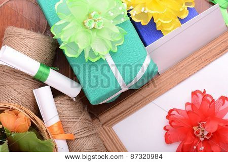 Set Of Gift Box, Flowers And Ribbons