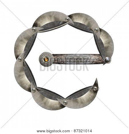 Metal alphabet letter E