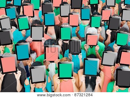 Social Gathering Digital Tablet Communication Society Concept
