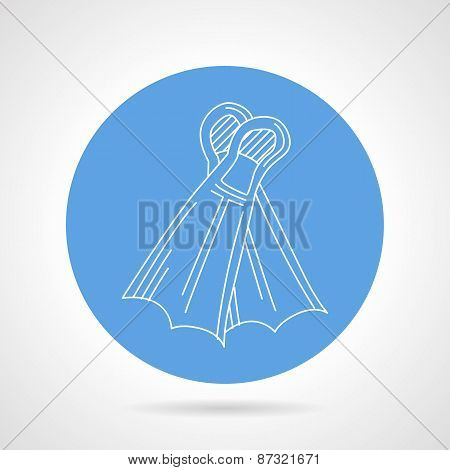 Swimming flippers round vector icon
