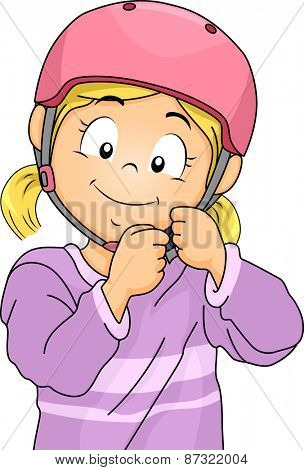 Illustration of a Little Girl Adjusting the Straps of Her Helmet