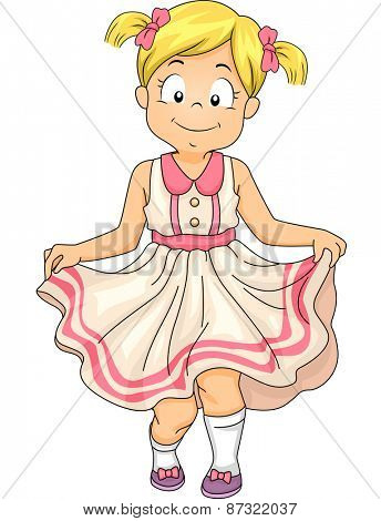 Illustration of a Little Girl Doing a Curtsey