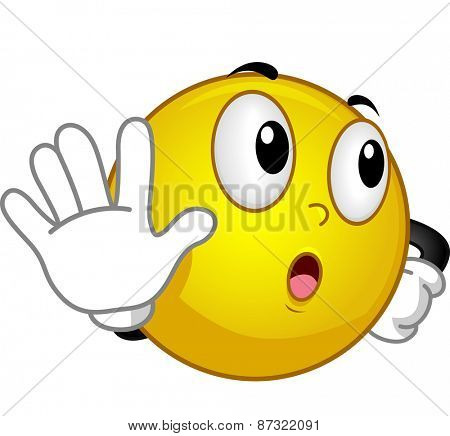 Mascot Illustration of a Smiley Doing the Talk to the Hand Gesture