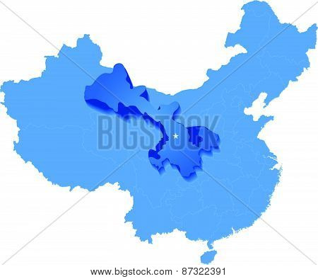 Map Of People's Republic Of China - Gansu Province