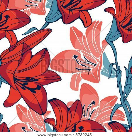 Elegant lilly flowers pattern