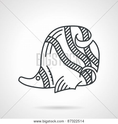 Butterflyfish black line vector icon