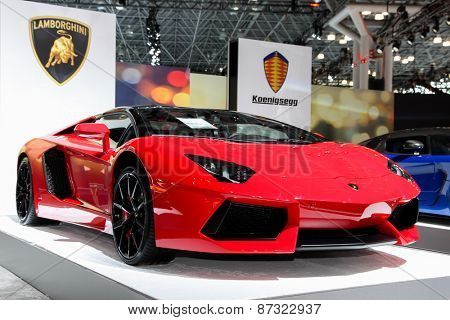 NEW YORK - APRIL 1: Lamborghini exhibit at the 2015 New York International Auto Show during Press day,  public show is running from April 3-12, 2015 in New York, NY.
