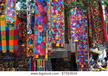 TULUM, MEXICO - NOVEMBER 11: Souvenir store with traditional Mexican handmade craft in Tulum