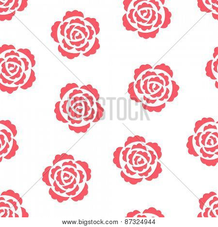 Seamless pattern with pink roses on white