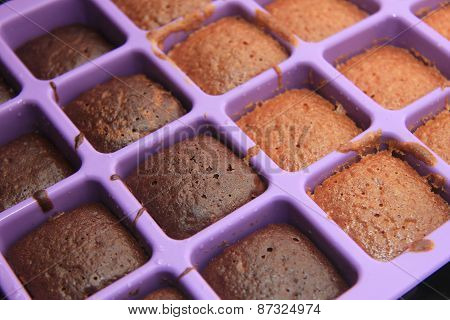 Cooked Cakes In A Tray