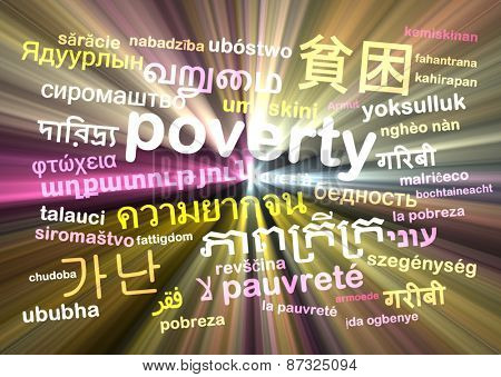 Background concept wordcloud multilanguage international many language illustration of translation poverty glowing light