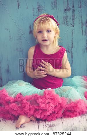 Portrait of cute little princess wearing beautiful tutu skirt on vintage wooden background