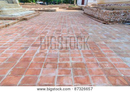 Ancient Red Grunge  Brick Footpath Floor Background, Texture
