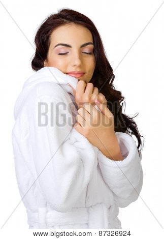 Healthy girl in bathrobe isolated