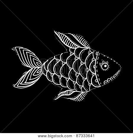 White textured fish on black, vector illustration