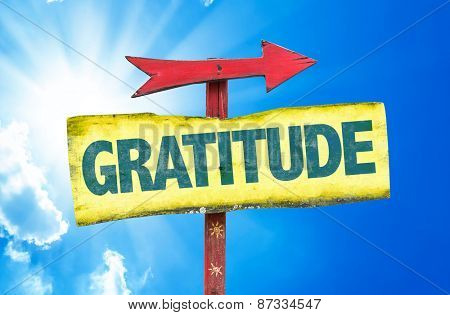 Gratitude sign with sky background
