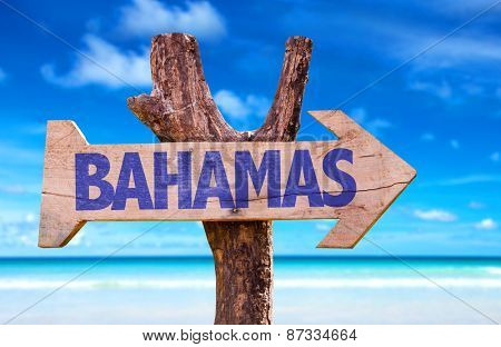 Bahamas sign with beach background